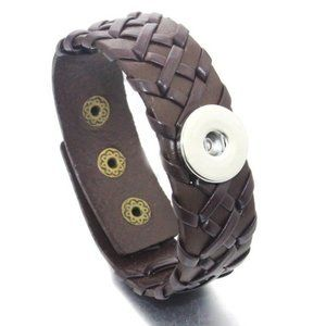 Brown Leather Snap Button Bracelet